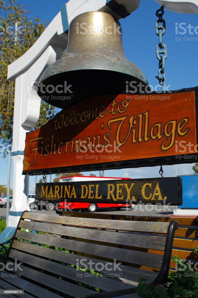 Marina del Rey bench stock photo