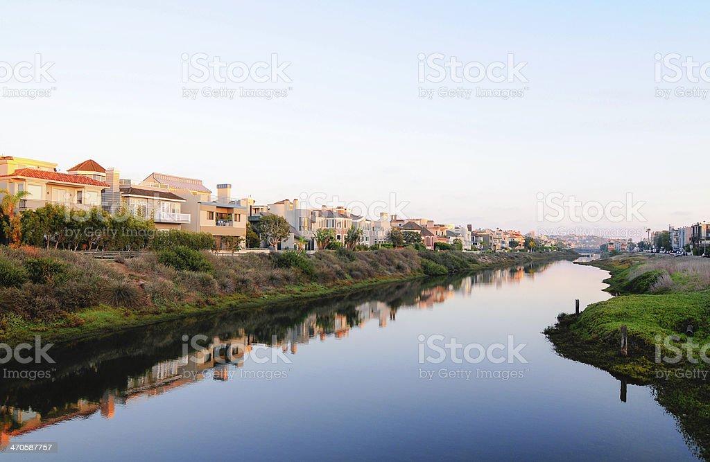 Marina del Rey, Grand Canal and Silverstrand. stock photo