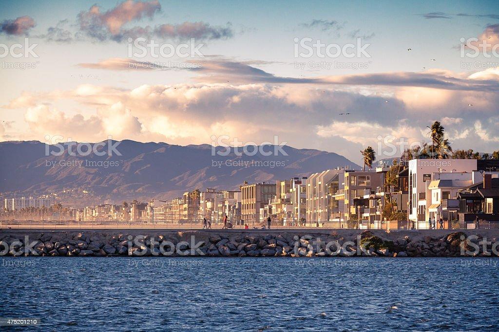Marina Del Rey, Venice & Santa Monica Mountains Before Sunset stock photo
