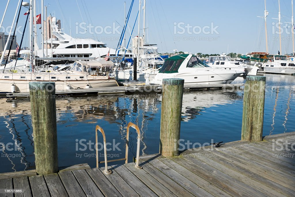 Marina Dock With Moored Sports Boats and Yachts royalty-free stock photo