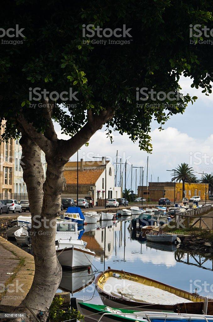 Marina for fishing boats at Carloforte, San Pietro island, Sardinia stock photo