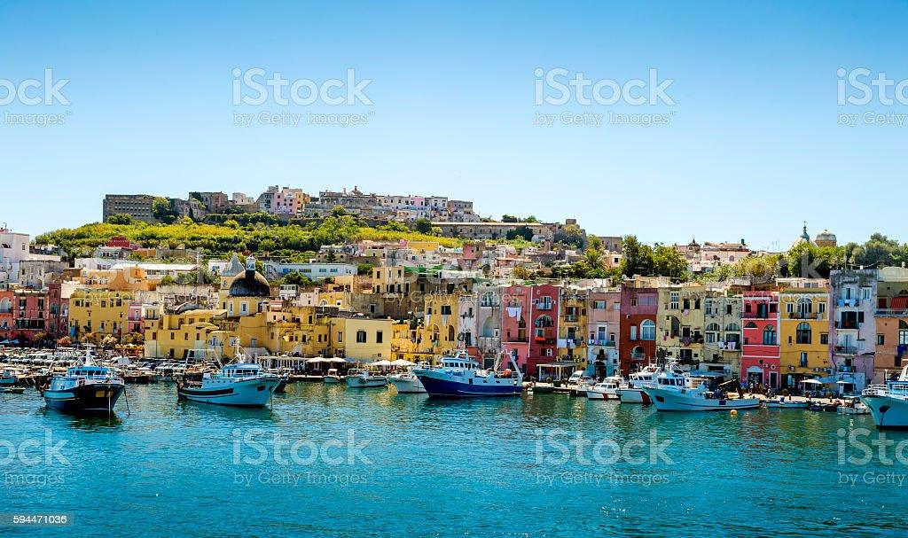 Marina Grande harbor on Procida island in Campania, Italy stock photo