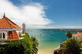 Marina in Cascais in Portugal at midday in summer