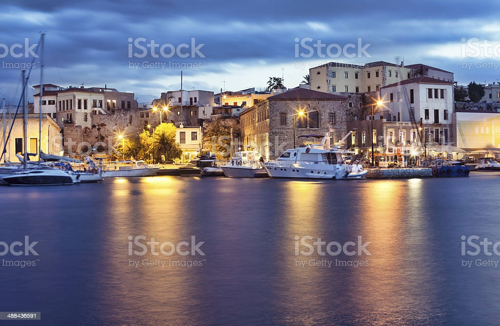 Marina in Chania, Greece stock photo