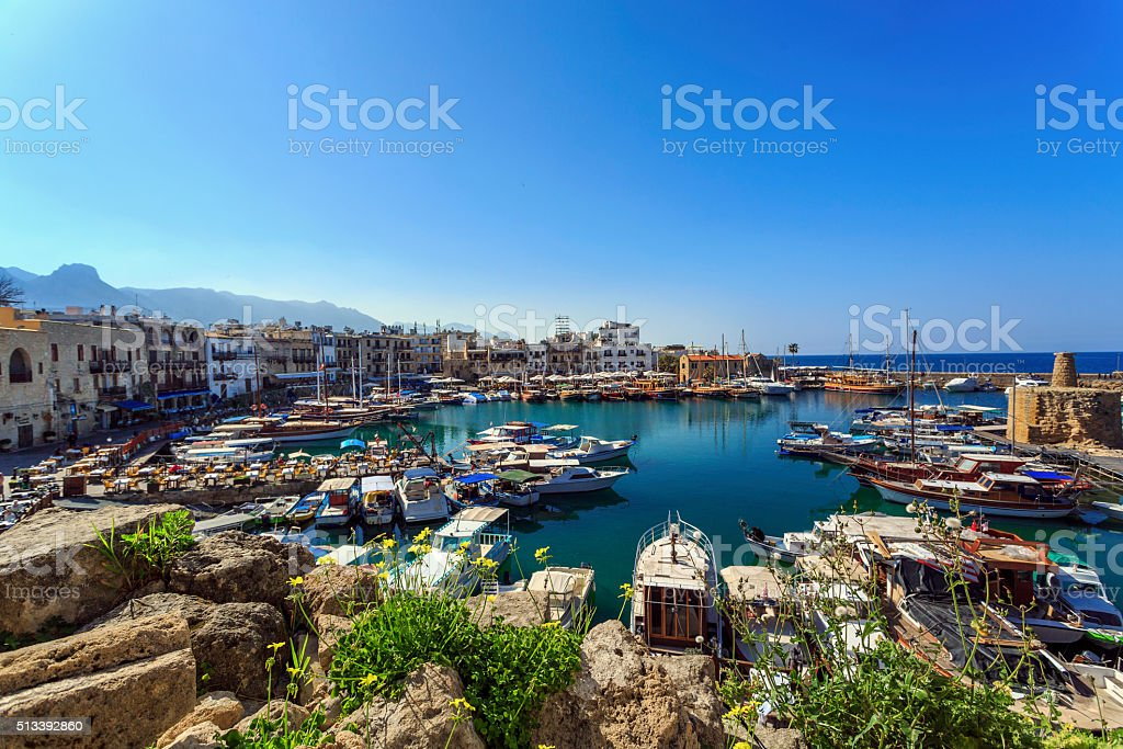 Marina in charming Kyrenia, Northern Cyprus stock photo
