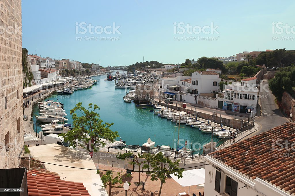 Marina in Ciutadella Menorca stock photo