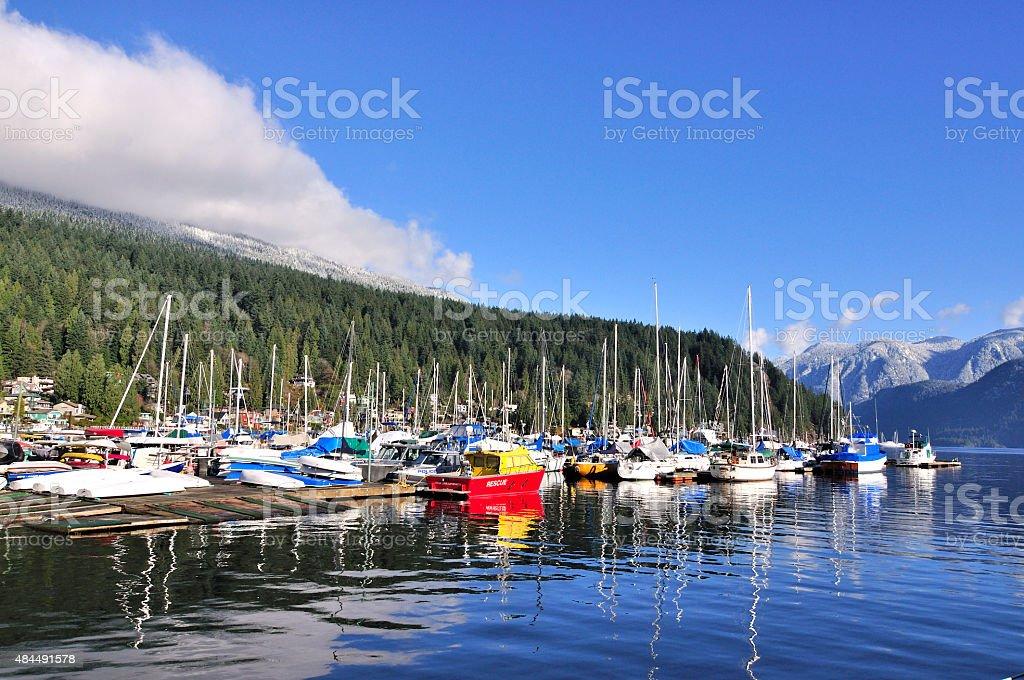 marina in Deep Cove stock photo