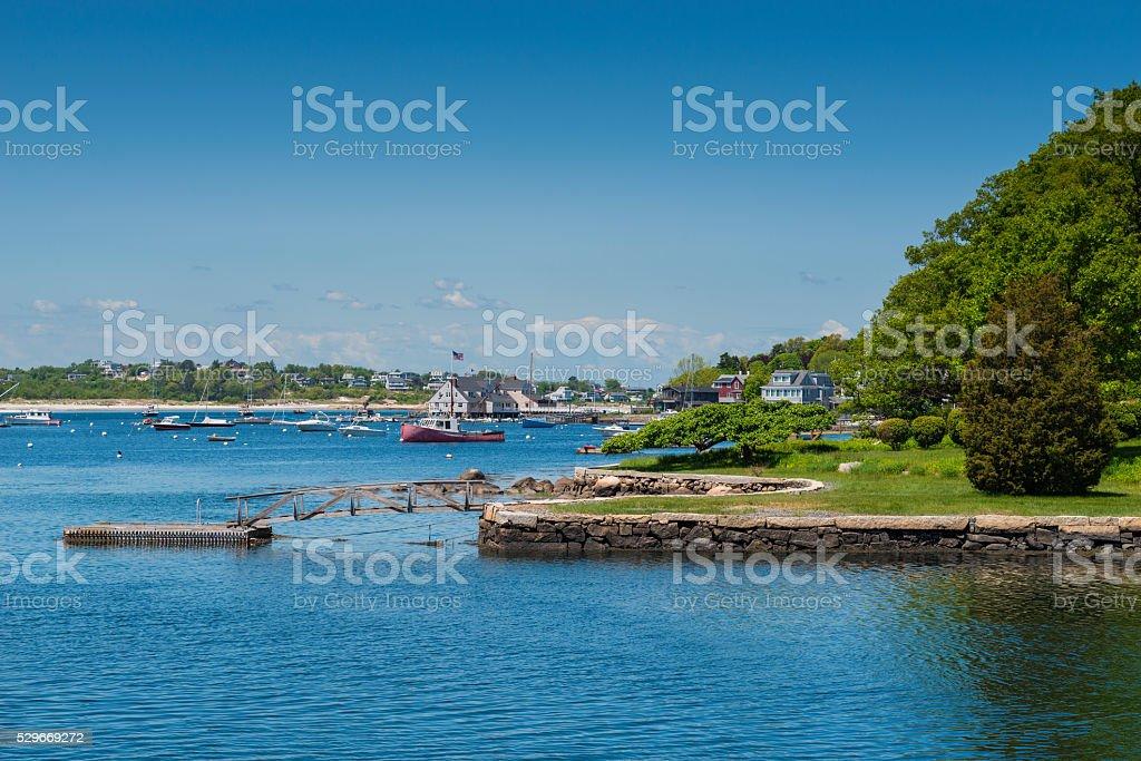 Marina in Gloucester Massachusetts stock photo