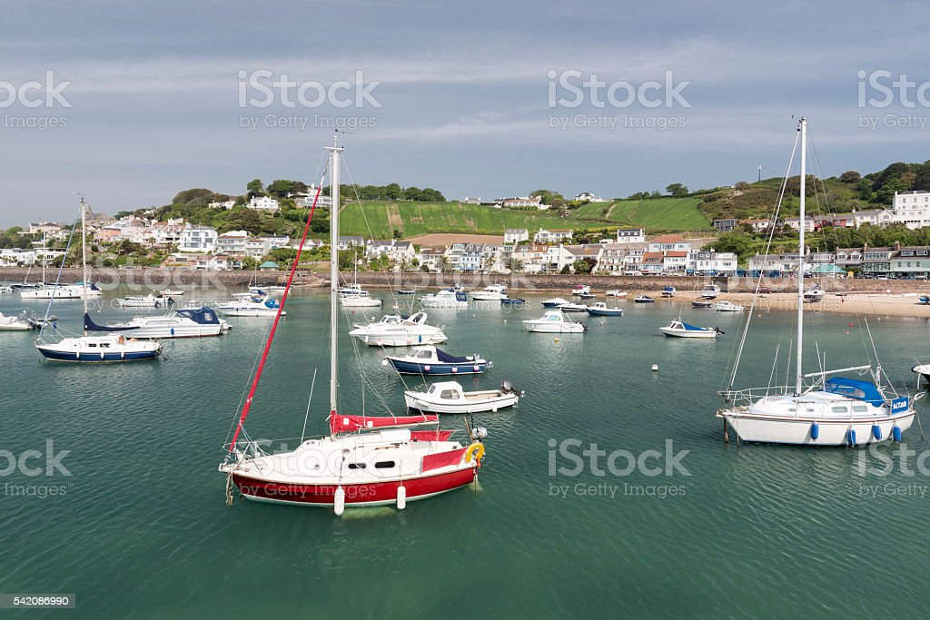 Marina in Gorey town, channel islands stock photo
