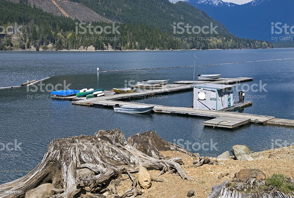 Marina in lake and clearcut hillside stock photo
