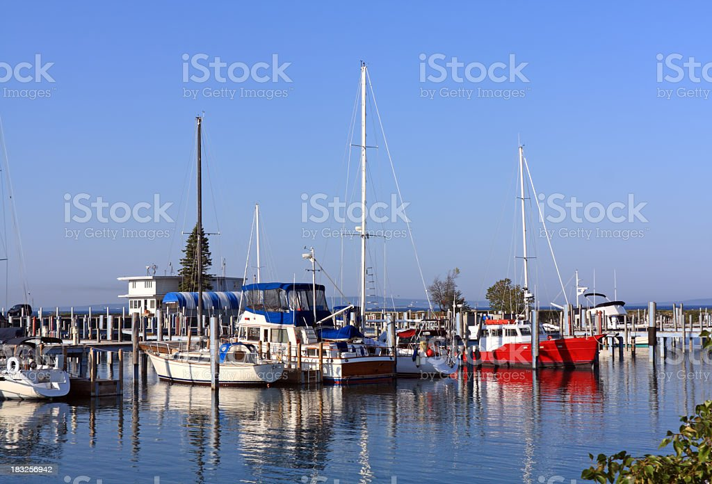 Marina in Mackinaw City, Michigan royalty-free stock photo