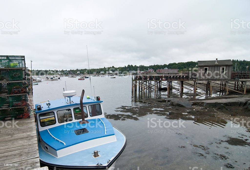 Marina in Maine with Fishing Boats and Docks stock photo