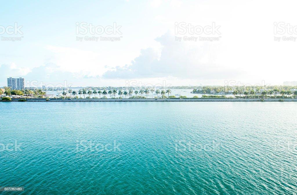 Marina in Miami at dawn, USA stock photo