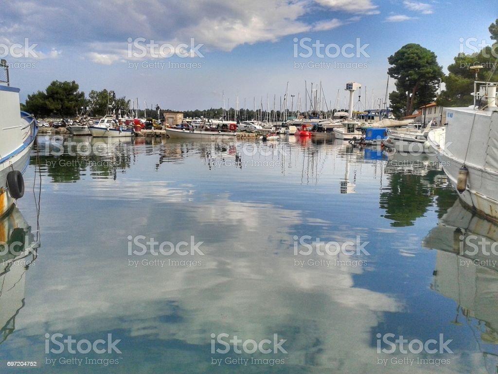 marina in novigrad stock photo