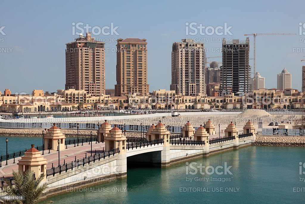 Marina in Porto Arabia. Doha, Qatar stock photo