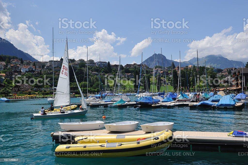 Marina in Spiez stock photo