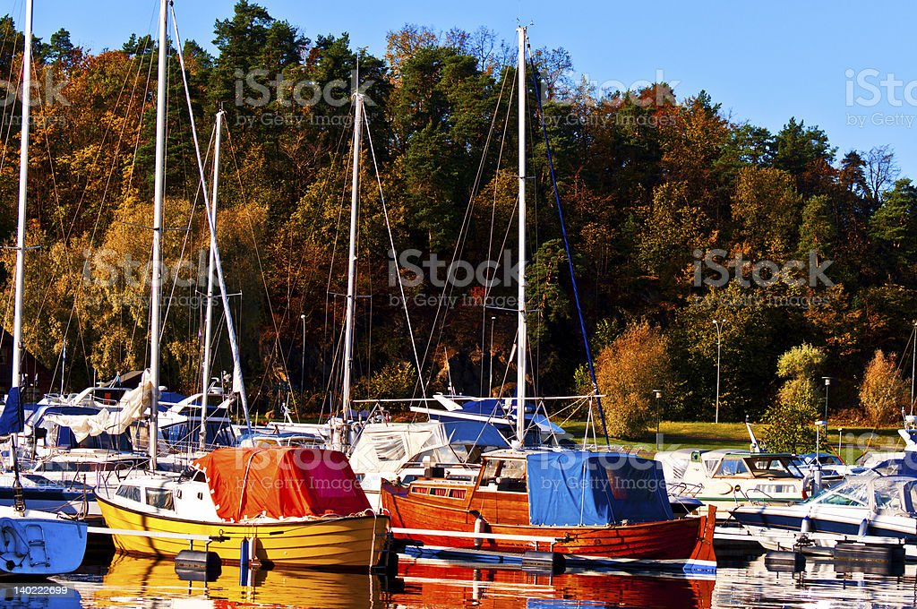 Marina in the late autumn royalty-free stock photo