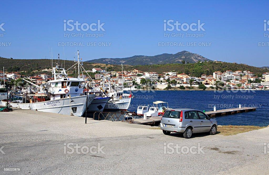 Marina in the Neos Marmaras stock photo
