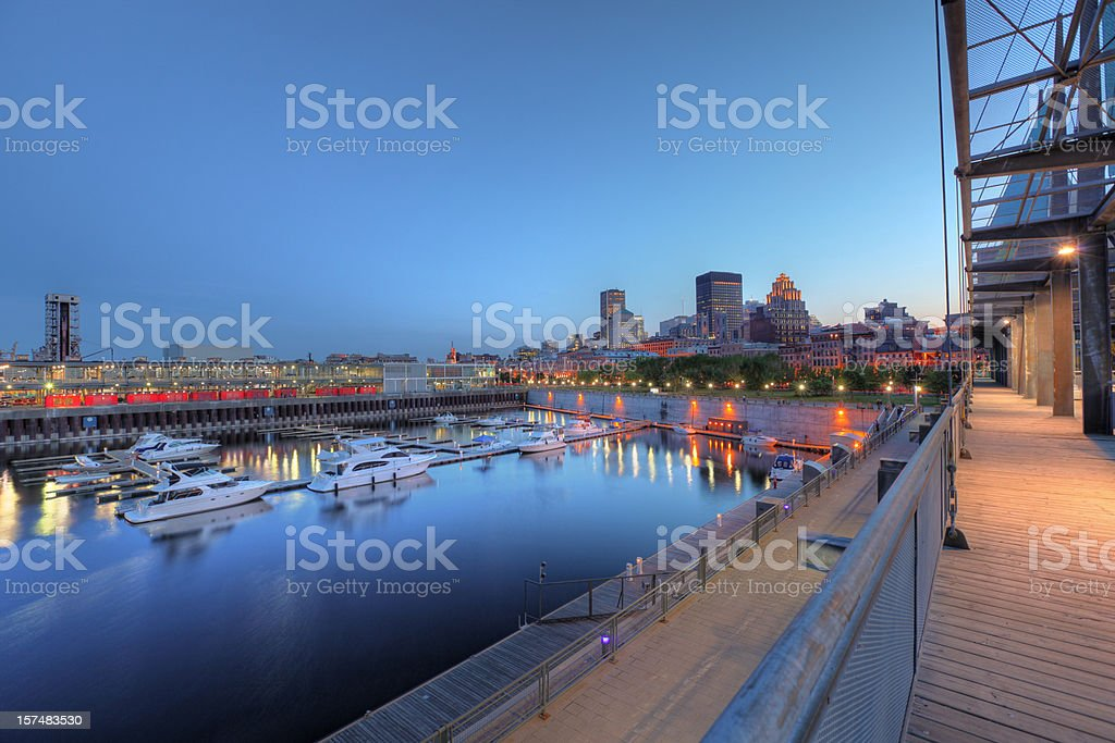 Marina in the old port of Montreal at night royalty-free stock photo