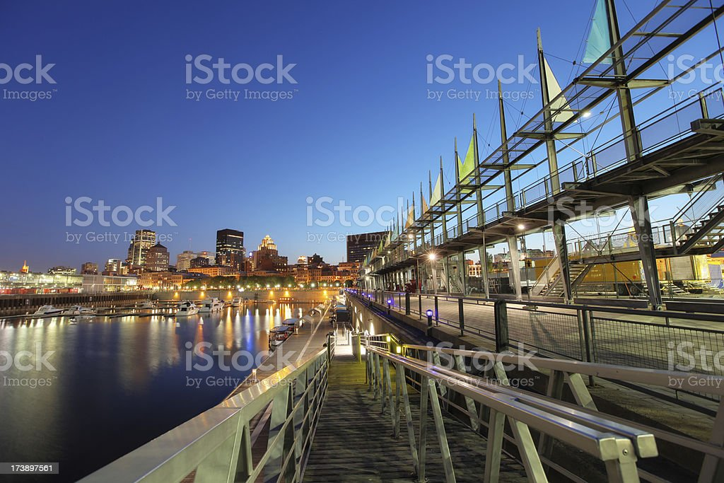 Marina in the old Port of Montreal royalty-free stock photo