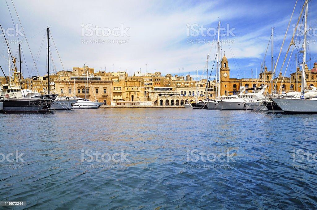 Marina in Vittoriosa, Valetta Bay, Malta stock photo