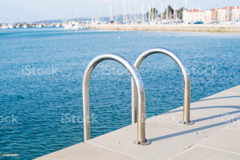 Marina ladder stock photo