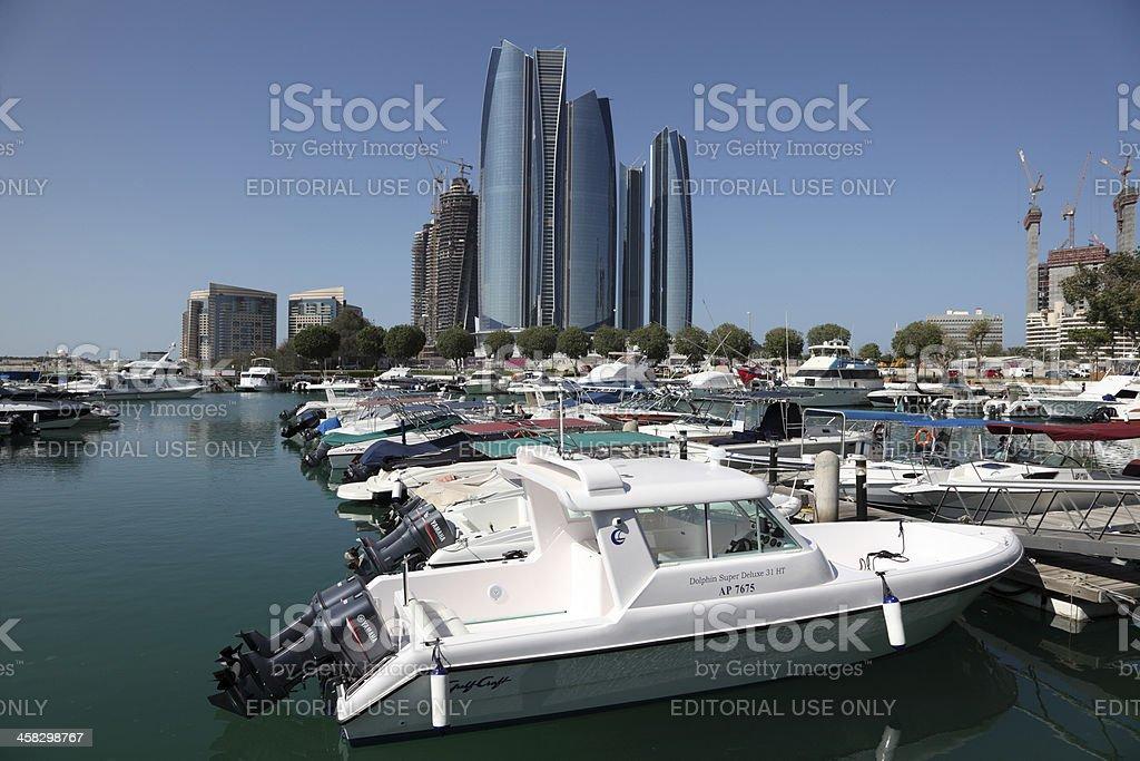 Marina n Abu Dhabi, United Arab Emirates stock photo