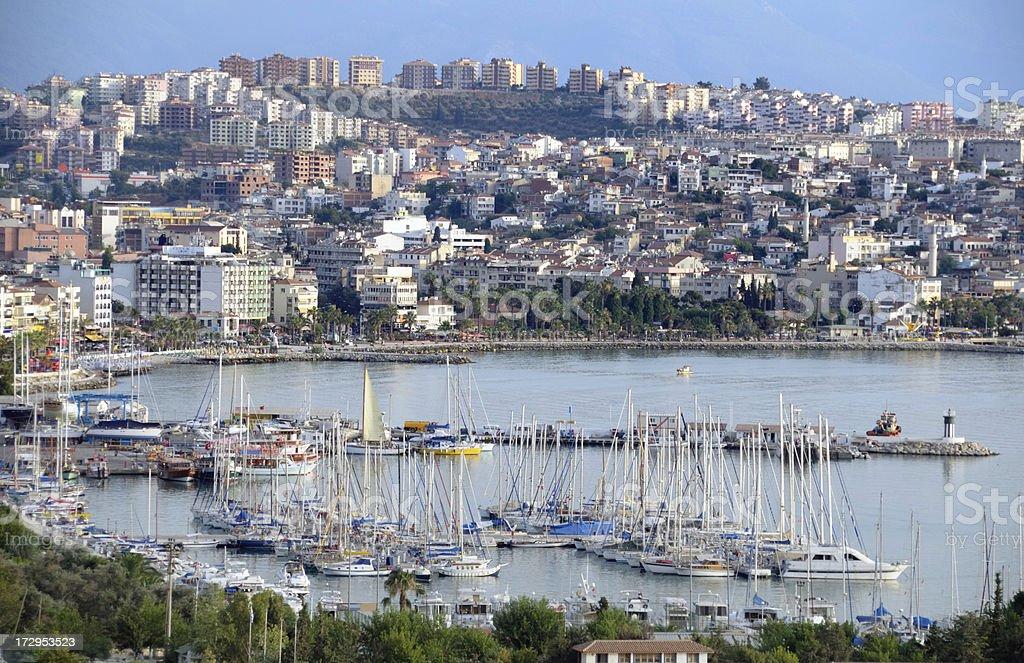 Marina of Kusadasi, Turkey stock photo