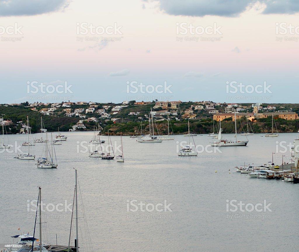 Marina of Mahon, Menorca stock photo