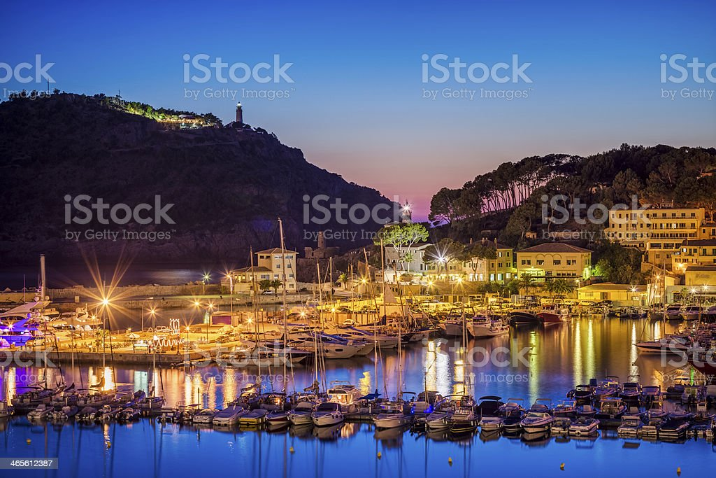 Marina of Port de Sóller by Night stock photo