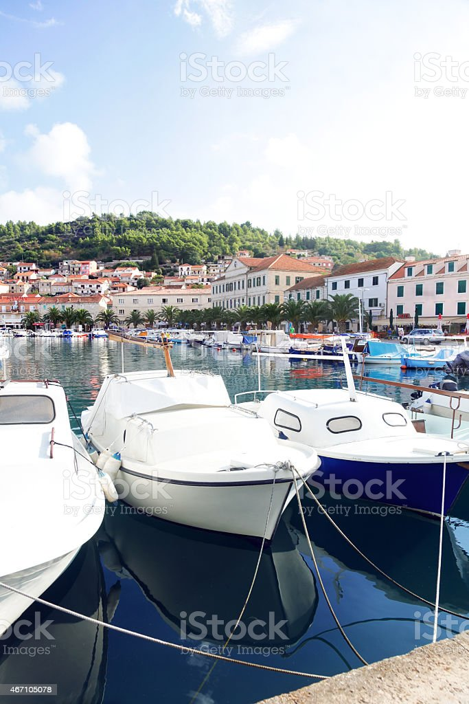 Marina on Korcula stock photo