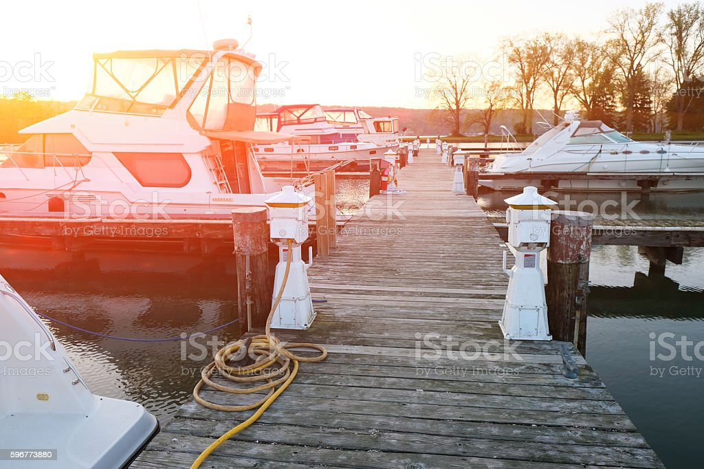 Marina on Lake Cayuga stock photo