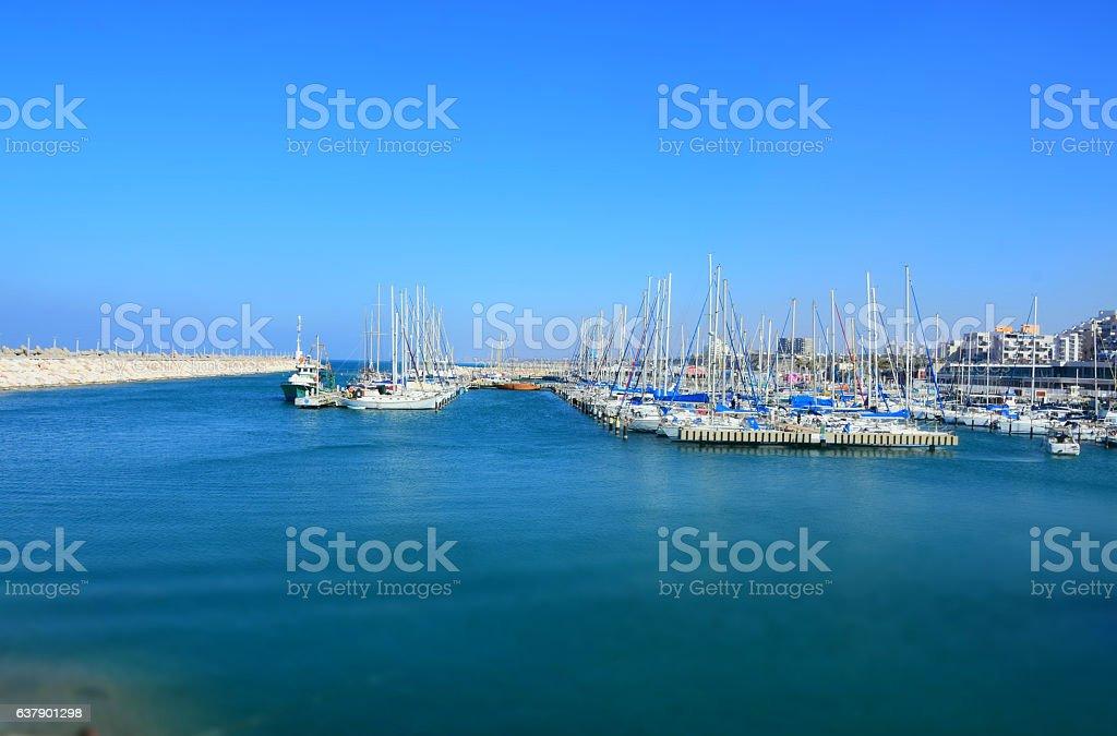Marina on Mediterranean sea stock photo