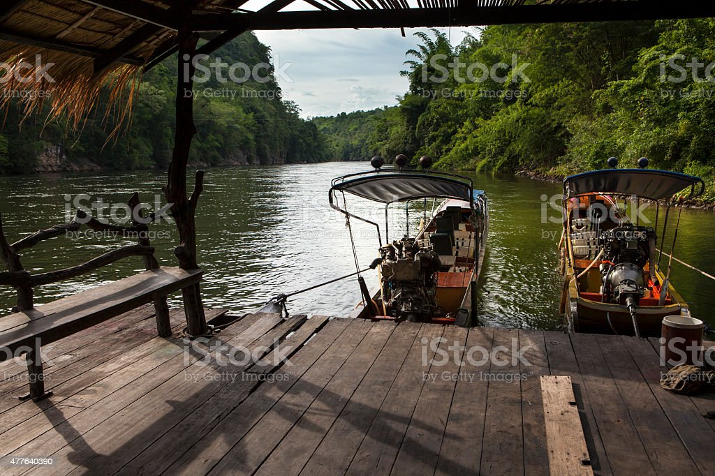 Marina on River Kwai stock photo