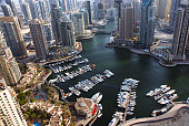 marina overhead shot with high rises and watercraft