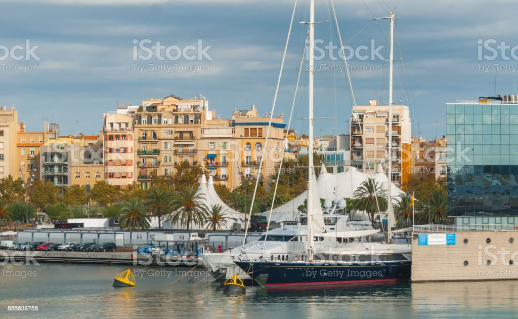 Marina Port Vell near Shopping centre in Barcenlona, Spain. stock photo