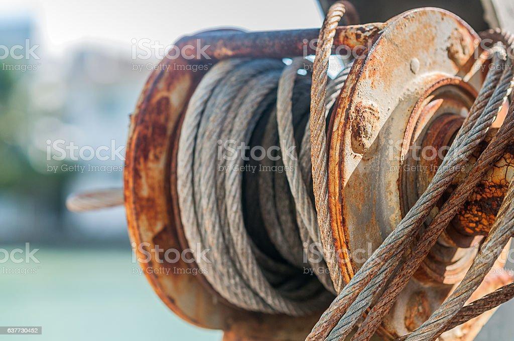 Marina pulley stock photo