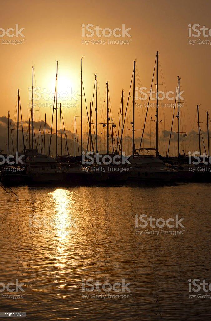Marina sunset royalty-free stock photo