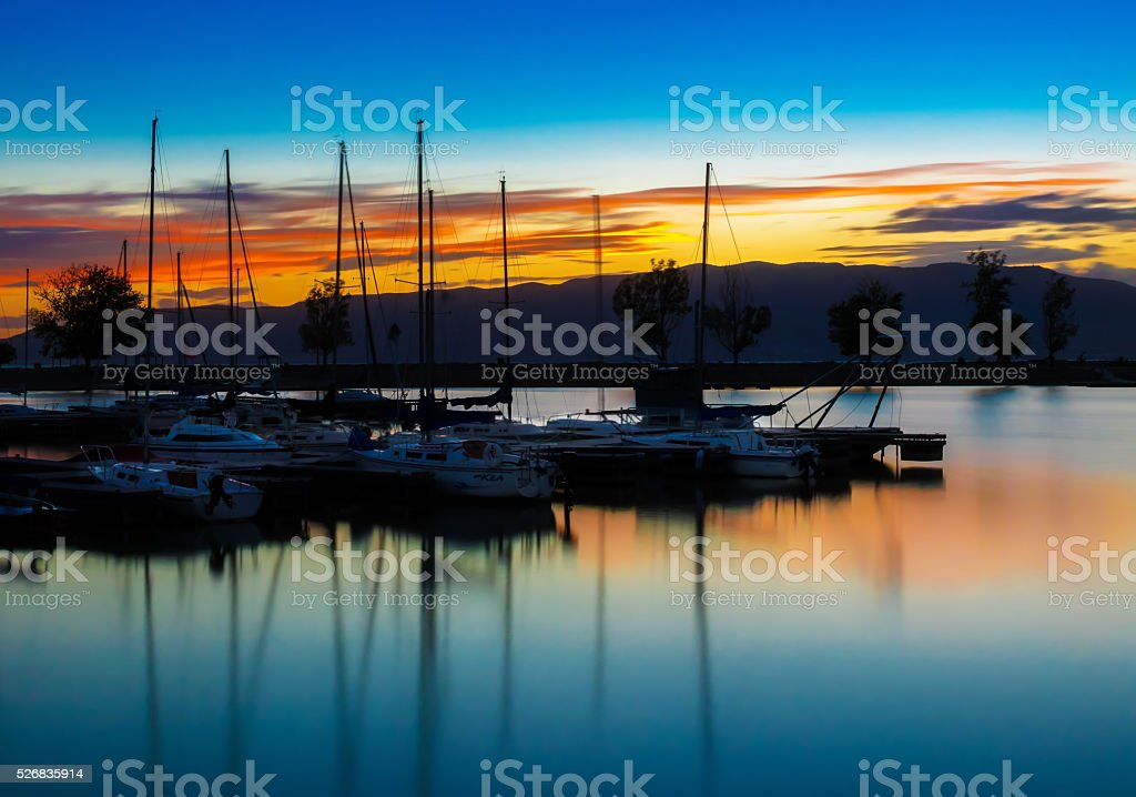 Marina Sunset stock photo