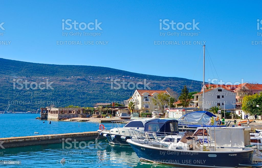 Marina with boats in the Djenovici town. stock photo