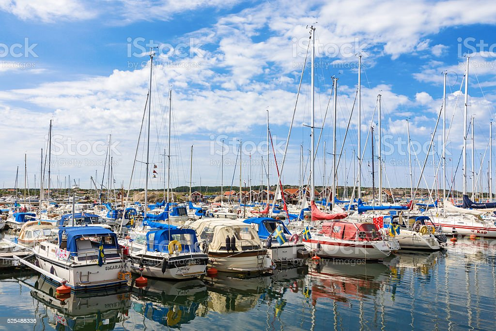 Marina with pleasure boats on the coast stock photo