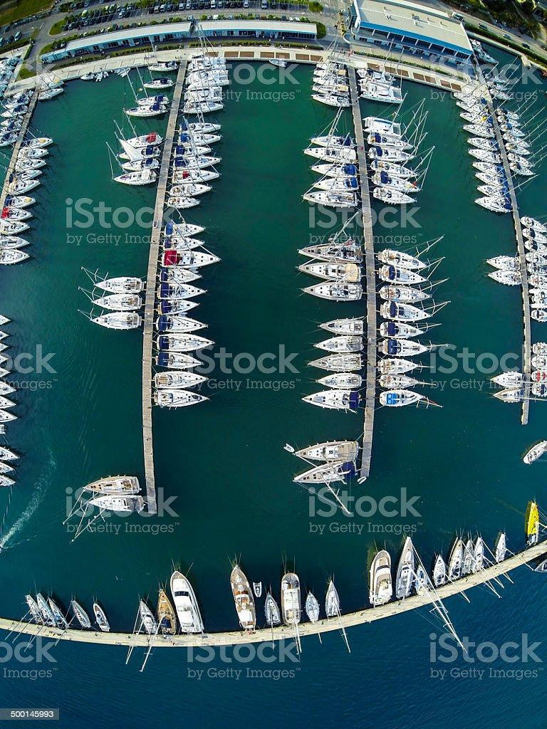 Marina with sailboats from above royalty-free stock photo