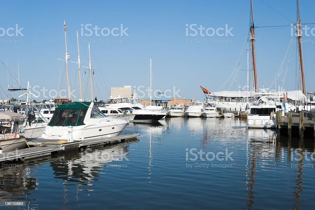 Marina with Sailboats in Sunlight royalty-free stock photo