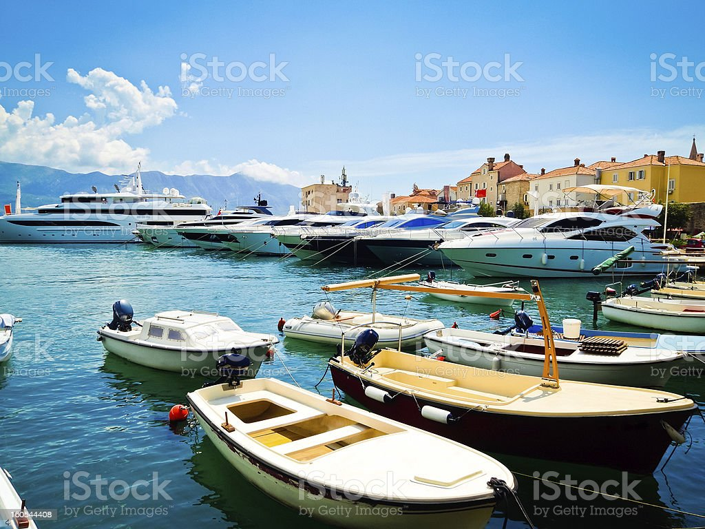 Marina with yachts in Budva, Budvanska rivijera, Montenegro stock photo