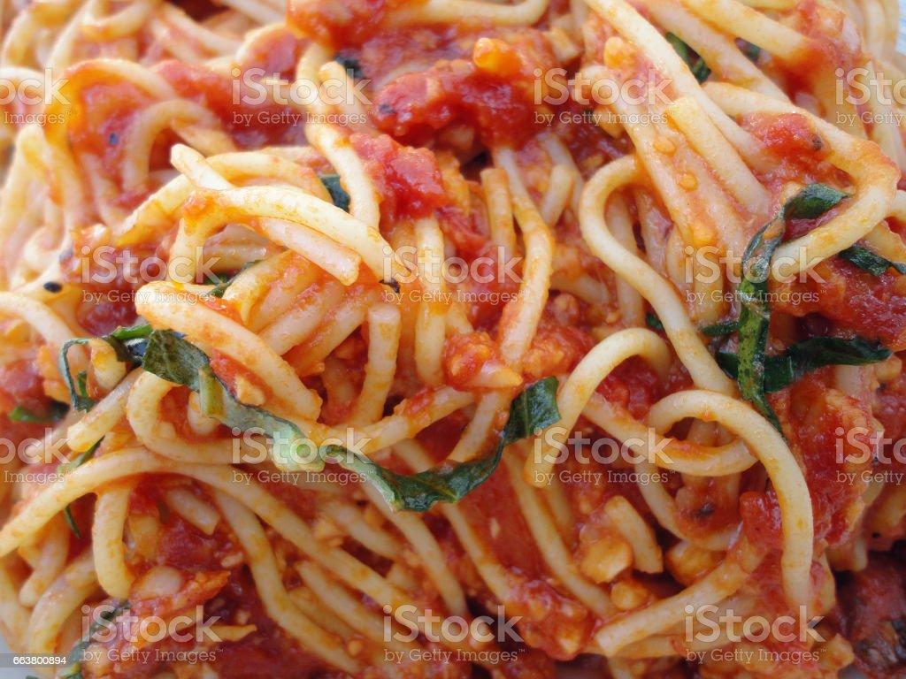 marinara spaghetti stock photo