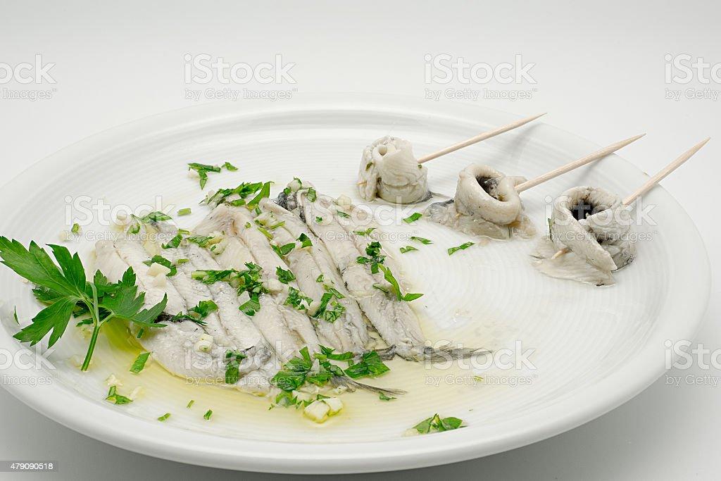 Anchovas marinado em óleo de oliva e vinagre foto royalty-free