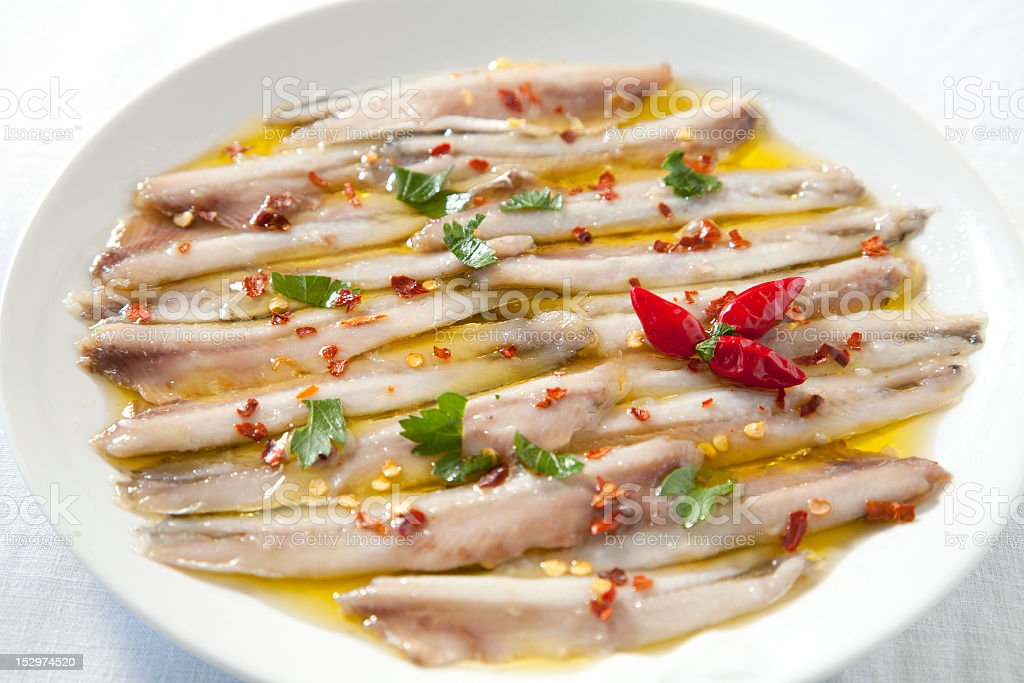 Marinated anchovies royalty-free stock photo
