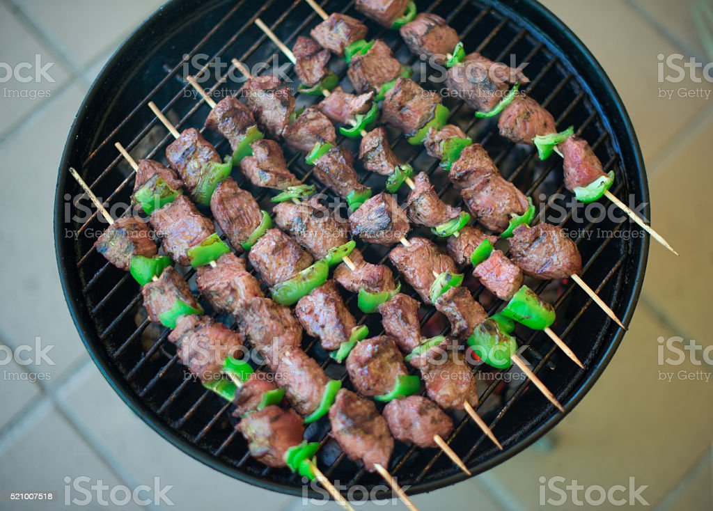 Marinated beef BBQ Skewers stock photo