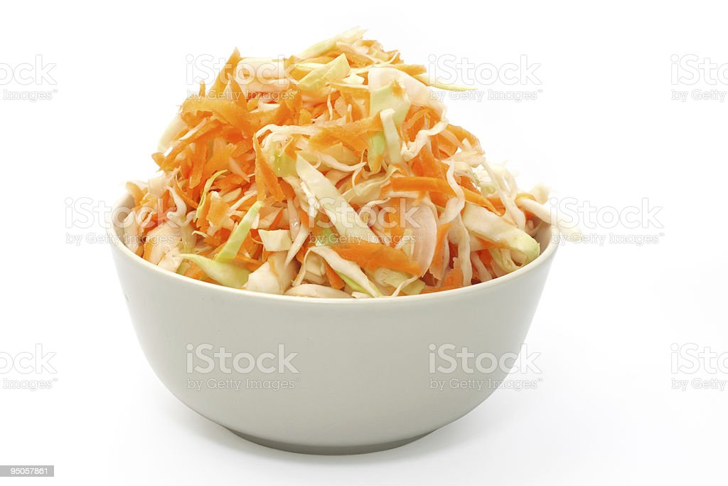 Marinated cabbage. Object over white. stock photo