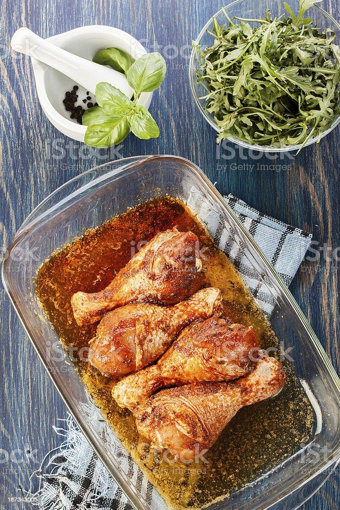 Marinated chicken drumsticks royalty-free stock photo